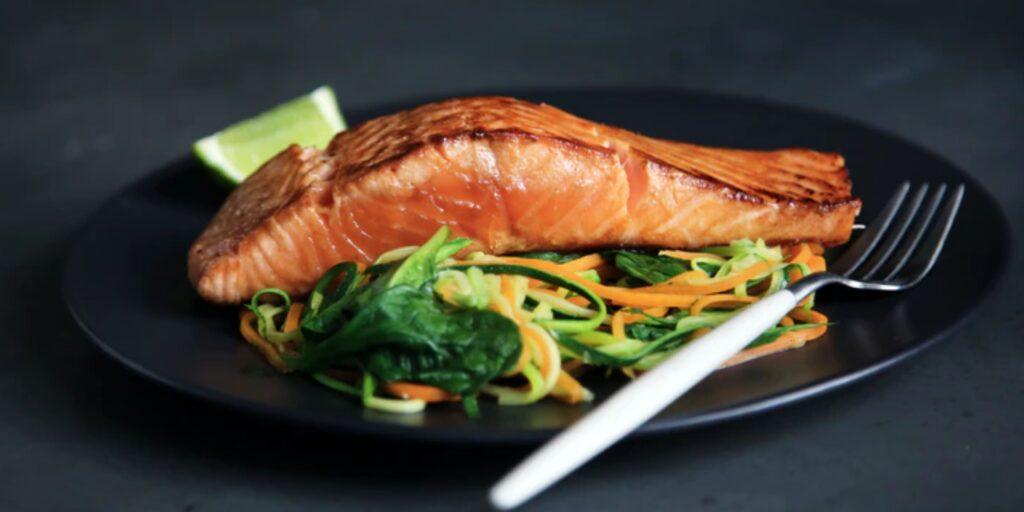 Salmon on vegetables